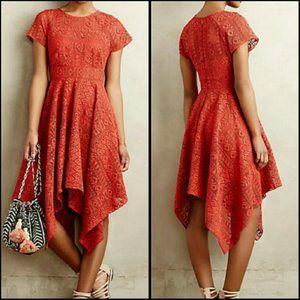Anthropologie Maeve Prima Lace Burnt Orange Dress